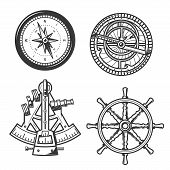 Ship Helm, Sail Compass And Sextant, Seafarer Marine Navigation Equipment. Vector Icons Of Compass N poster