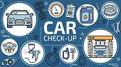 Automotive Maintenance And Car Service, Mechanic Diagnostics And Vehicle Check-up. Vector Car Servic poster