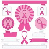 stock photo of breast-cancer  - pink and white ribbons rosettes and banners with breast cancer awareness motifs isolated on white - JPG