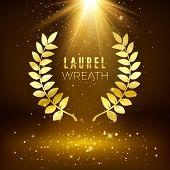 Golden Shiny Award Sign. Laurel Wreath On Dark Luxury Background With Golden Glitter. Vector Illustr poster