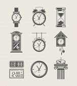 picture of pendulum clock  - retro and modern clock set icon vector illustration - JPG