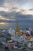 Cityscape Of Beautiful Wat Traimit Or Temple Of The Golden Buddha Where The Biggest Solid Golden Bud poster
