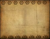 image of pirate ship  - Background image with interesting old paper texture sea elements - JPG