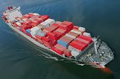 stock photo of nautical equipment  - An aerial view of a container ship - JPG