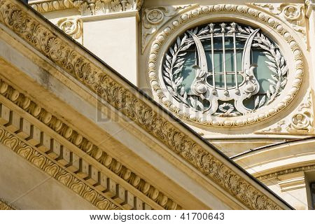 Architectural Detail With Harp And Laurels