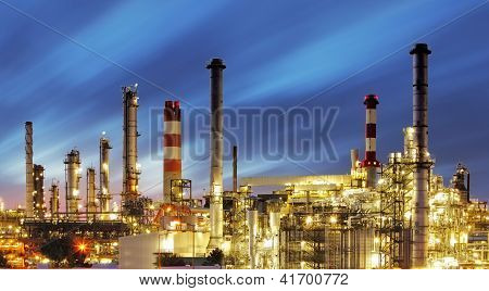 Factory At Sunset - Oil Refinery