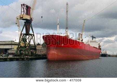 Red Ship At Docks