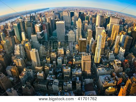 Fisheye Aerial Panoramic View Over New York