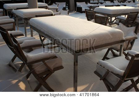 Table In Street Cafe On Winter