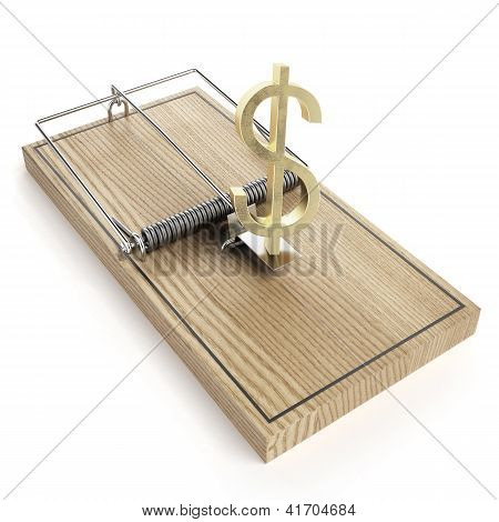 Wooden mouse trap with dollar sign