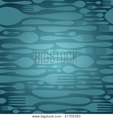 Cutlery Seamless Pattern In Blue