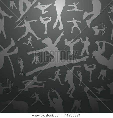 Sports Silhouettes Gray Seamless Pattern