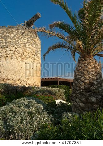 Traditional Greek Garden With Windmill