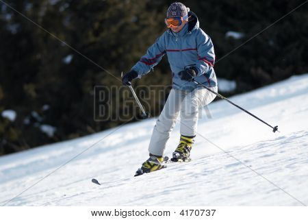 A Woman At The Ski Slope