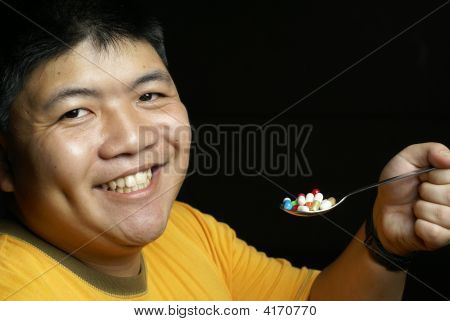 Happy Man With Pills