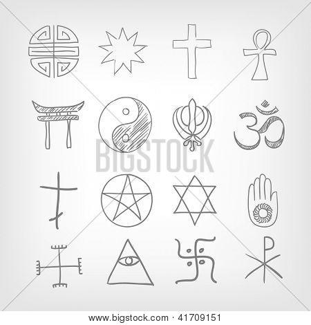 Religious symbolism. Grey Gradient Background. Vector Illustration. EPS 10.