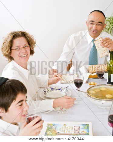 Jewish Family Celebrating Passover