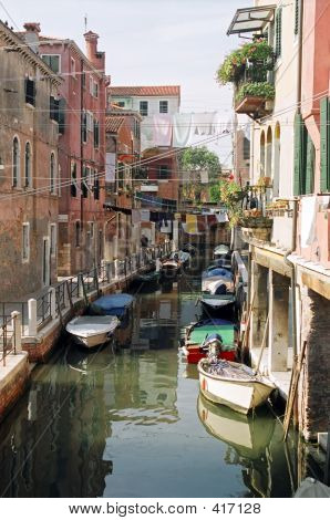 Residential Canal In Venice