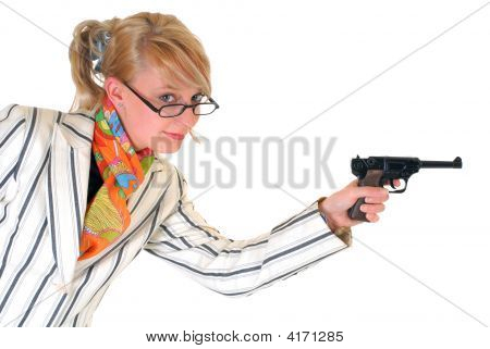 Blond Businesswoman With Gun