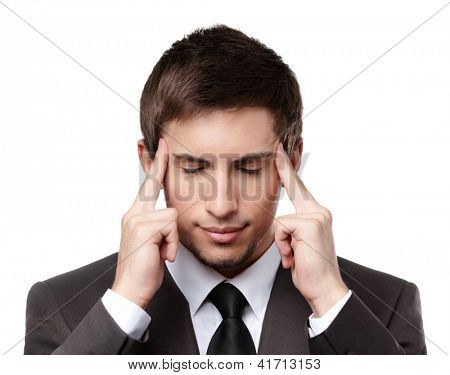 Putting hands on head business man has some problems, isolated on white