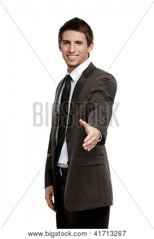 Friendly businessman giving hand for a handshake to seal the agreement, isolated on white