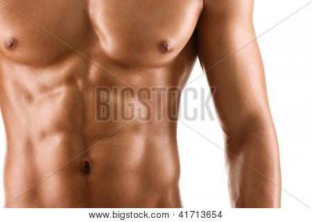 Sexy body of nude muscular man, isolated on white