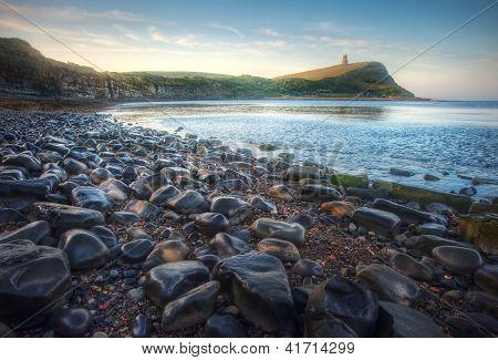 Beautiful Vibrant Sunrise Over Low Tide Beach Landscape