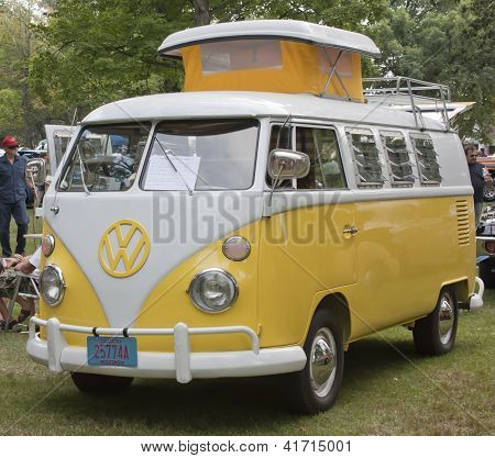 Yellow & White 1966 Vw Camper Full View