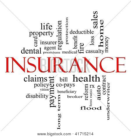 Insurance Word Cloud Concept In Red And Black
