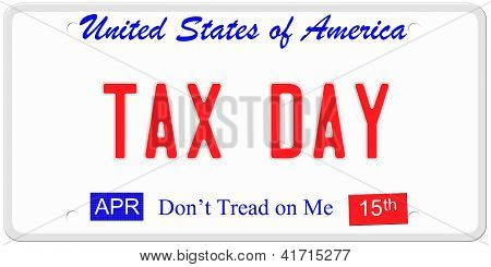 Tax Day License Plate