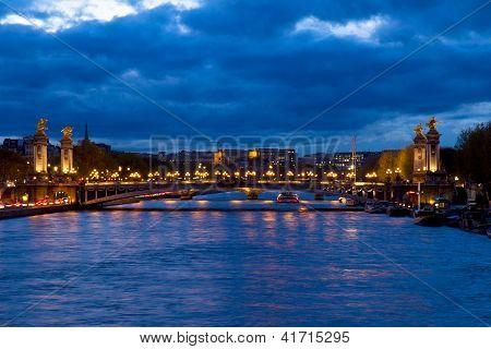 Bridge of Alexandre III at night,  Paris, France