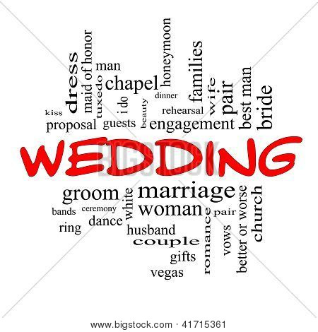 Wedding Word Cloud Concept In Red Caps