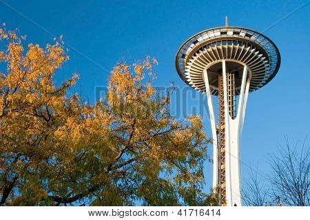 Space Needle In Seattle During The Sunset