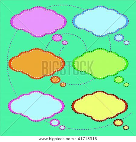 Six Colorful Thought Bubbles On Green Pattern