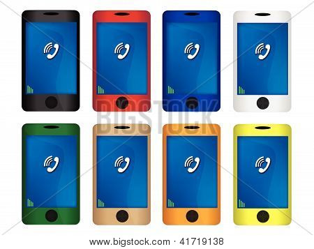 Colorful Illustration Set Of Mobile Smart Phone
