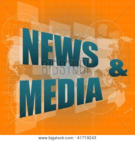 News And Press Concept: Words News And Media On Digital Screen