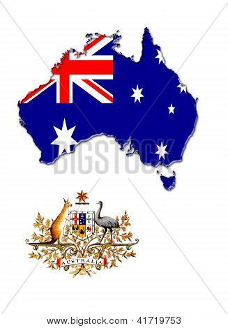 map and the herb with flag of Australia