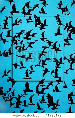 Set of black silhouettes of birds