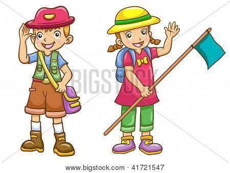 Cartoon Boy/girl Scout