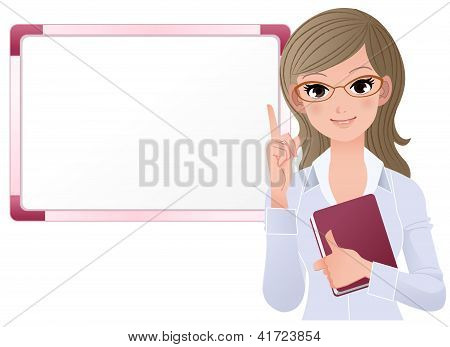 Woman Wearing Glasses Pointing Up With Index Finger