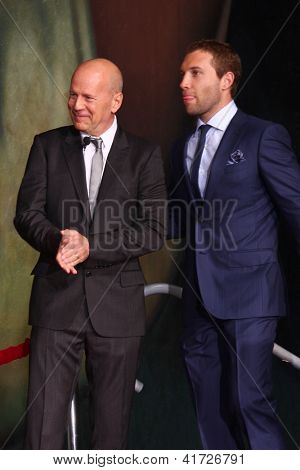 LOS ANGELES - JAN 31:  Bruce Willis, Jai Courtney at the 'A Good Day to Die Hard