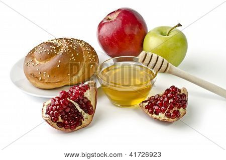 Challah, Apples, Pomegranate And Bowl Of Honey