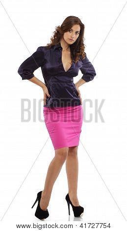 Woman in skirt posing