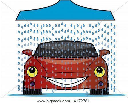 Illustration Of A Car Wash With A Blue Shower Pouring Fresh Water Droplets On To A Bright Red Happy