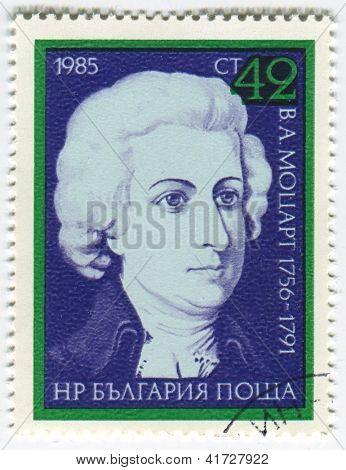 BULGARIA - CIRCA 1985: Postage stamps printed in Bulgaria dedicated to Wolfgang Amadeus Mozart (1756-1791), Austrian composer, circa 1985.