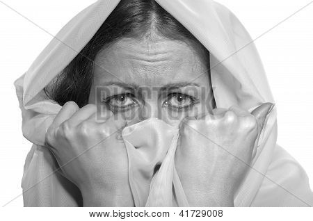 Scared Girl In White Hijab