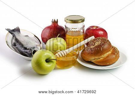 Still Life With Apples, Pomegranates, Fish, Challah And Honey