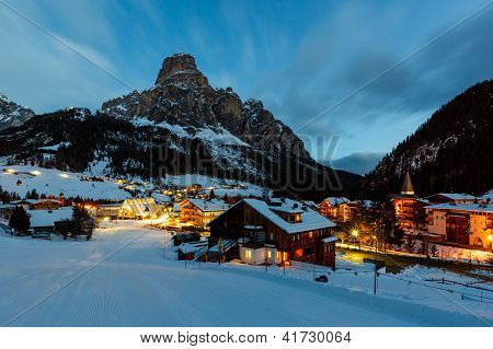 Ski Resort Of Corvara At Night, Alta Badia, Dolomites Alps, Italy