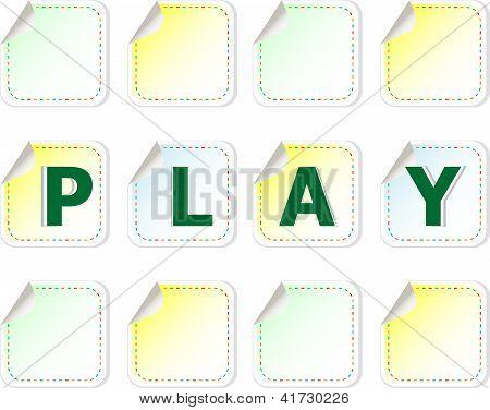 Aufkleber festlegen, mit dem Wort-Spiel