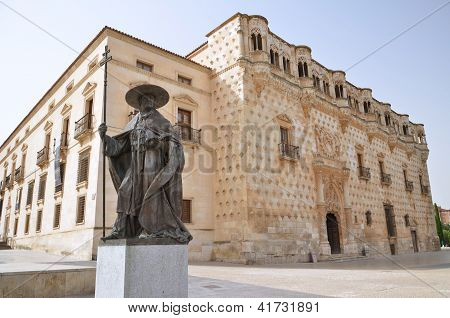 The monument of Don Pedro Mendoza in front of Palace of Dukes of Infantry in Guadalajara, Spain
